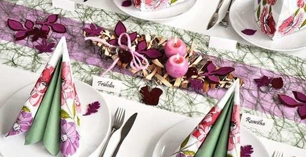 Moosgrün / Flieder  Tischdeko Herbst  Pinterest