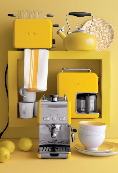 yellow kitchen small appliances