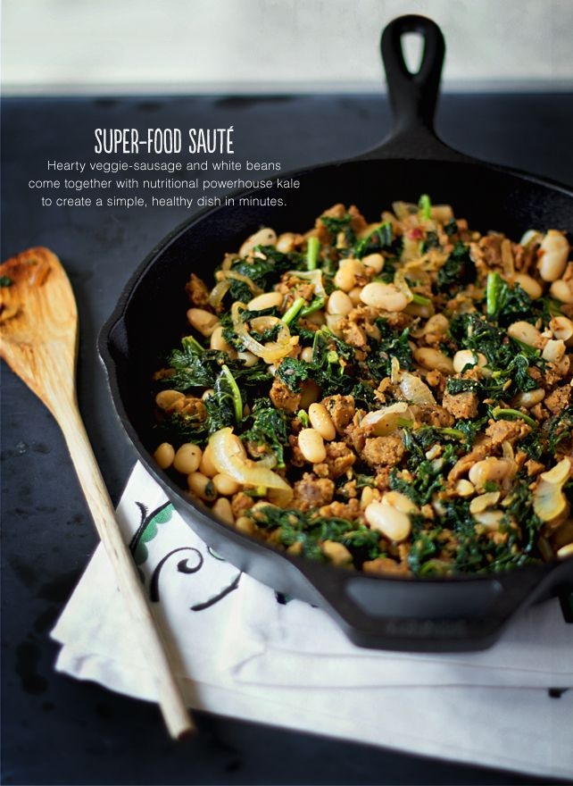 Superfood Saute: Kale with Veggie Sausage and White Beans