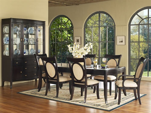 dark wood dining set and china cabinet dining room