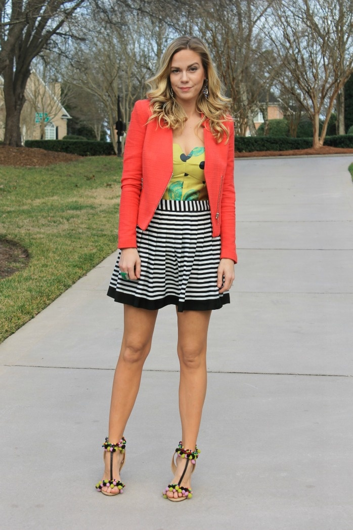 bright blazer, mixed prints,pom pom heels