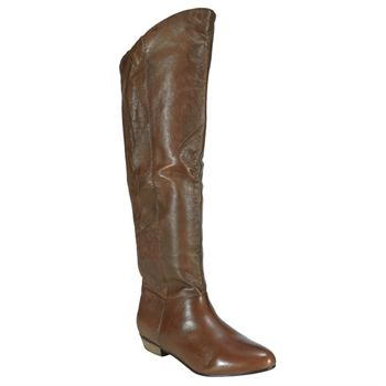 knee-high boot brown faux leather