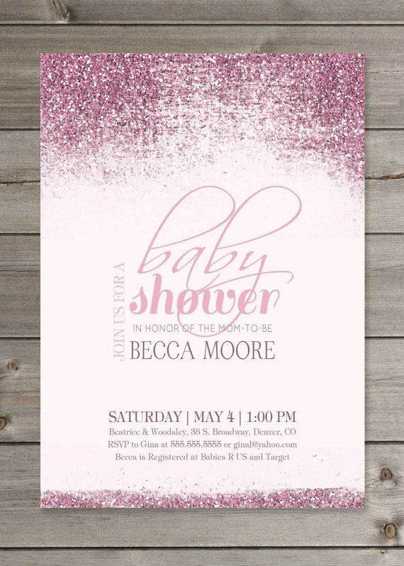 baby shower pink or blue glitter invitation 5x7 printable digital fi