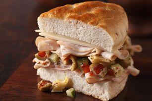 turkey and vegetable focaccia sandwich | Recipes | Pinterest