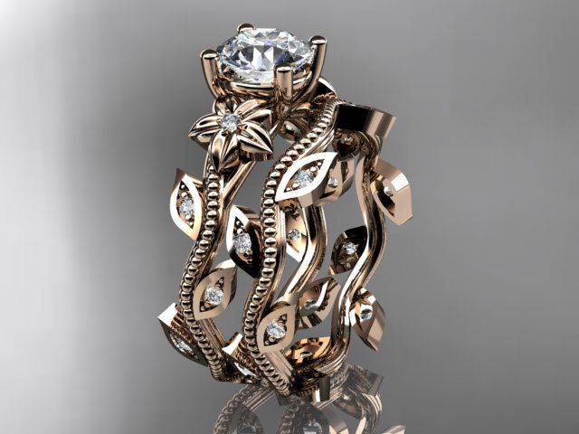 14k rose gold diamond leaf and vine wedding ring engagement ring enga…