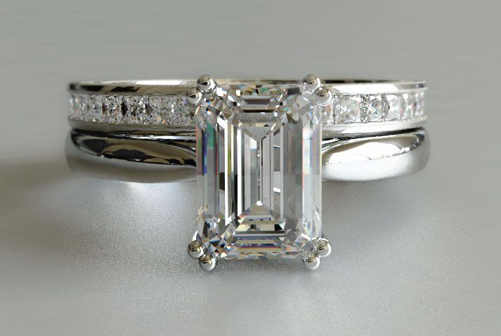 Cut Diamond Solitaire Engagement Ring with Princess Cut Diamond ...