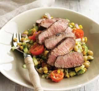 Sumac lamb with chickpea salad | Healthy Food Guide