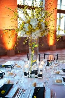 Tall Yellow Centerpiece with Branches reception wedding flowers,  wedding decor, wedding flower centerpiece, wedding flower arrangement, add pic source on comment and we will update it. www.myfloweraffair.com can create this beautiful wedding flower look.