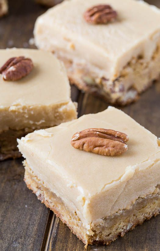 Butterscotch Blondies with pecans and a thick layer of icing
