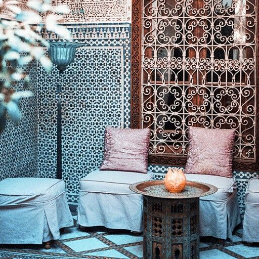 An outdoor living court of a moroccan villa