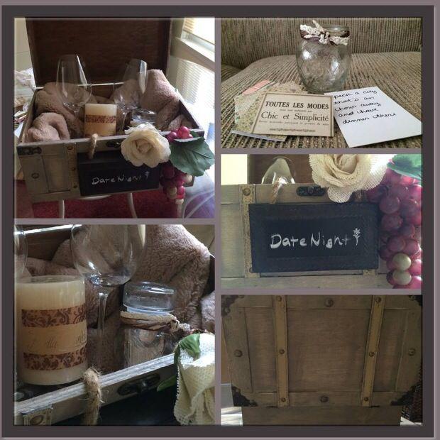 Gift Basket Ideas For Wedding Night : Bridal shower gift idea. Date night gift basket
