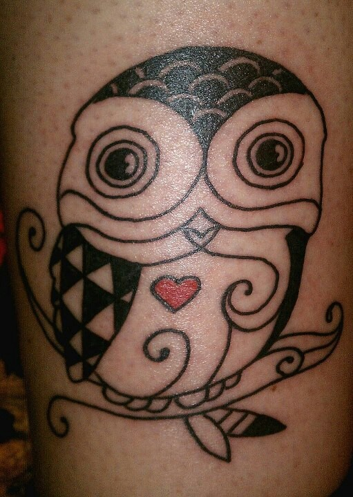 Folk art style owl tattoo with heart tattoos pinterest for Owl heart tattoo