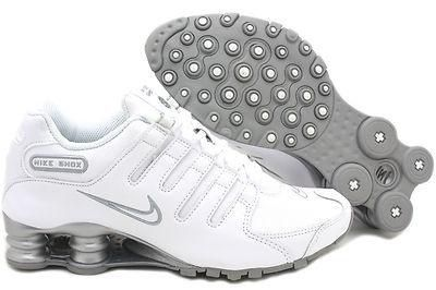 white leather nike shox