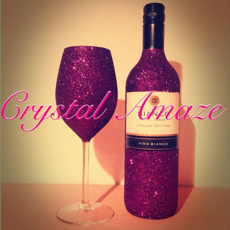 Glitter wine glass bottle glitter glasses pinterest for Pictures of wine bottles and wine glasses