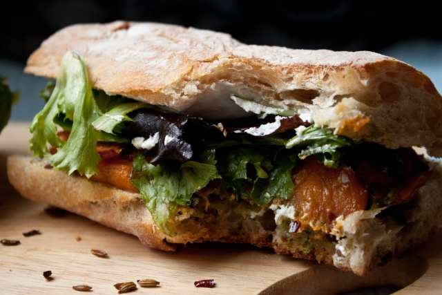 ... potato sandwich with goat cheese and cilantro-basil pesto. #sandwich