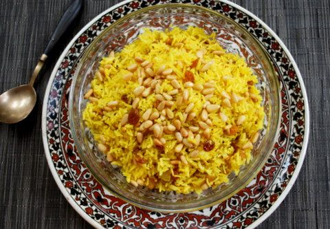 ... raisins and saffron rice pilaf with mushrooms and pine nuts