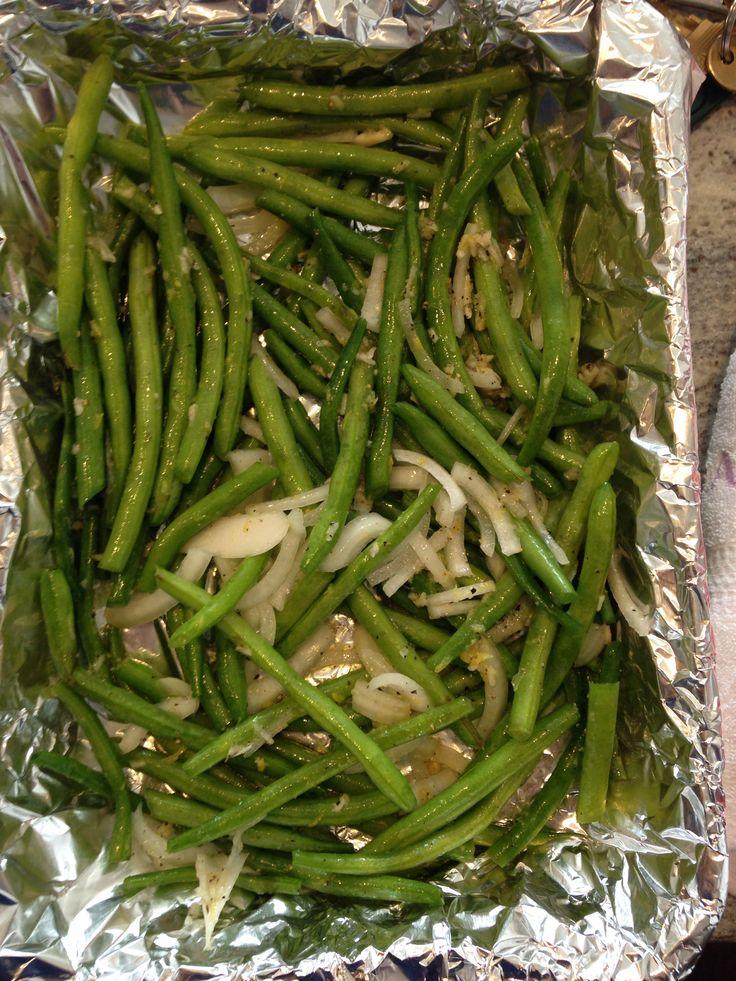 Oven baked green beans with lemon zest, lemon juice, garlic, onions ...