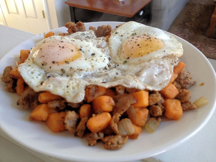 Sweet potato and sausage hash with eggs. Healthy and delicious!