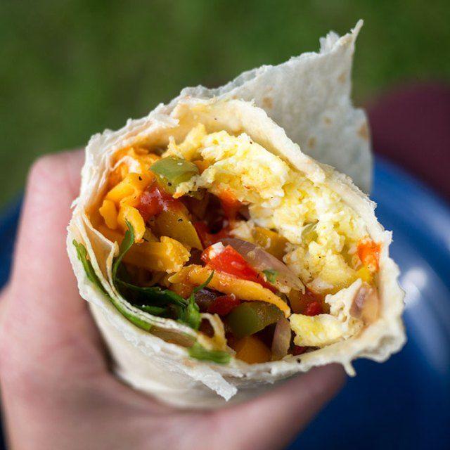 Veggie Breakfast Burritos. Great for camping!