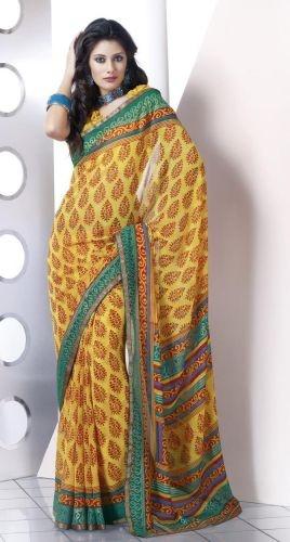 Yellow Poly Georgette Saree - Zohraa.com   Fashion   Pinterest