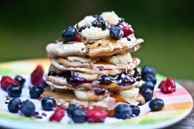 Maple Peanut Butter, Banana & Jam Pancake Stack *Spelt flour *Cinnamon ...