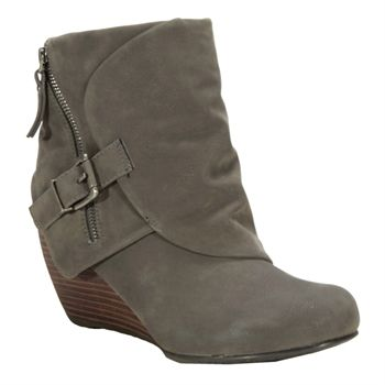 bootie wedge gray