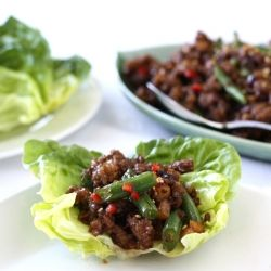 Pork & Green Bean Lettuce Wraps with Hoisin-Sesame Sauce