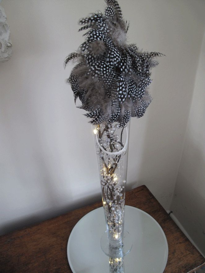Black and white centerpieces feathers parties pinterest