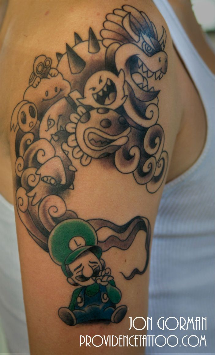Luigi #tattoo done by Jon at #providencetattoo #gamer #Mario #Nintendo