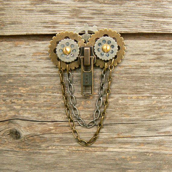 Steampunk Brooch Zipper Brooch Owl Brooch by PeteAndVeronicas, $25.00