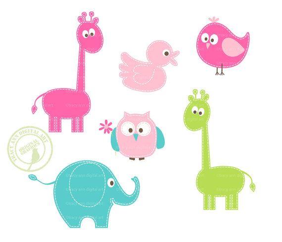 ... , Aqua, Lime Baby Animal Clip Art, Elephants, Birds, Owls, Giraff