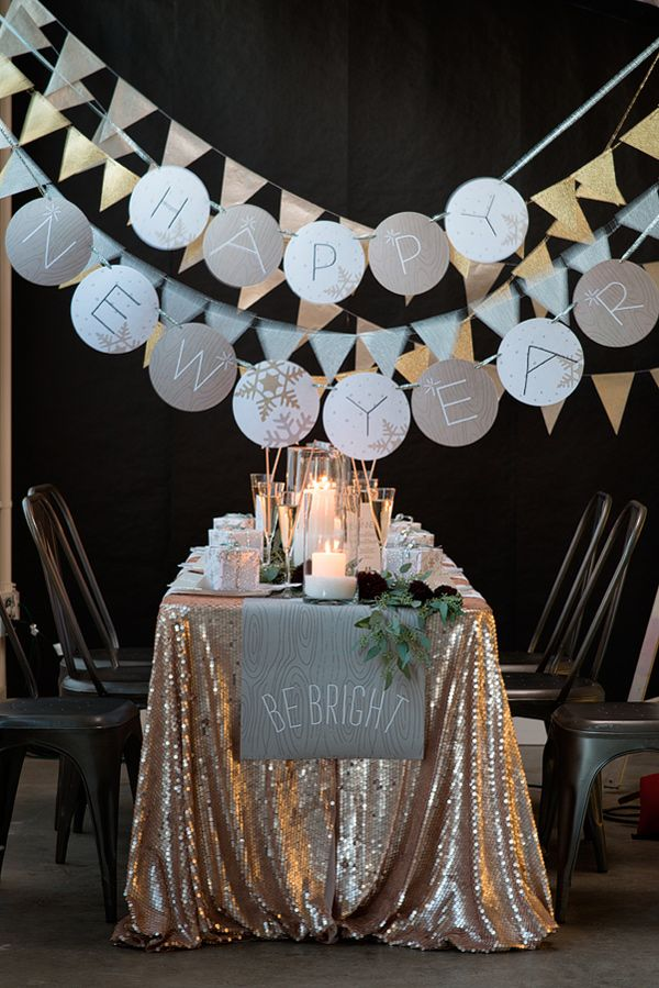 New Years tablescape // photo by Modern Kids Photography // http://ruffledblog.com/silver-and-gold-nye-party