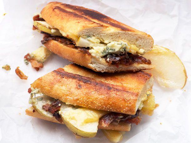 Pressed Stilton, Pear, Date and Bacon sandwiches. This sounds like a ...