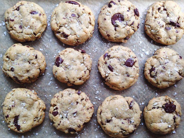 Dark chocolate, sunflower seed & grey sea salt cookies via @mariematt ...