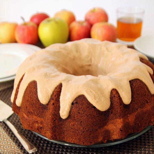 100% Whole Grain Apple Bundt Cake with cream cheese filling ...