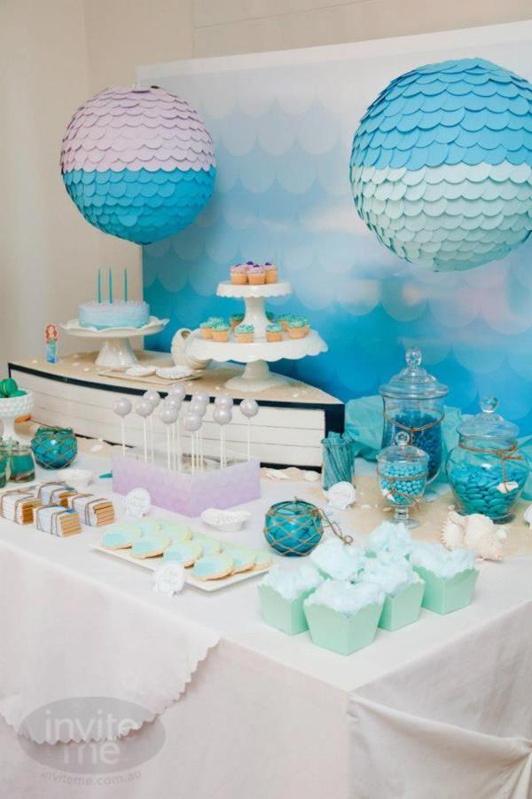 Mermaid girl birthday party with LOTS of cute ideas! Via Kara's Party Ideas KarasPartyIdeas.com #mermaid #birthday #party #supplies #idea