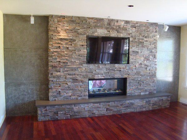 stone veneer fireplace and television fireplaces pinterest