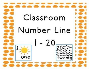 Classroom Number Line with numbers 1 - 20. Intended for classroom ...