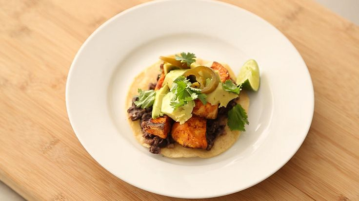 Vegetarian Tex-Mex. Black bean and sweet potato tostadas.