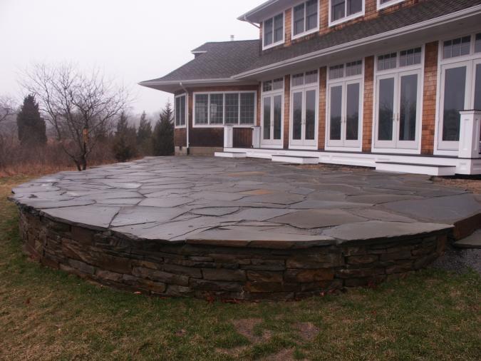 Raised Stone Patio Garden Pinterest