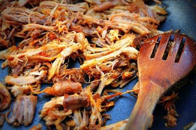 chicken tender: life in a woodstove (recipe: carnitas, under pressure)