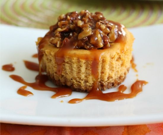 Mini Pumpkin Cheesecakes with Salted Caramel Pecans | A Sweet Baker