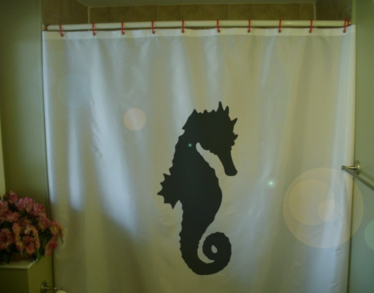 Shower curtain sea creature coral reef fish hippocampus tropical bath