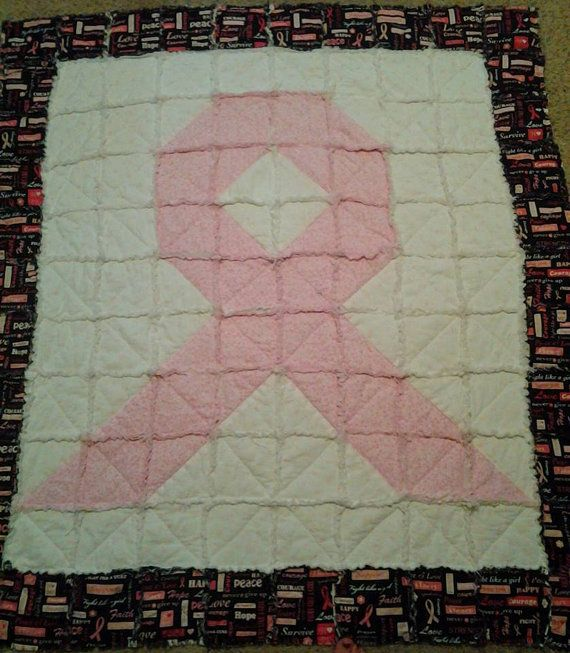 Breast Cancer Awareness Rag Lap Quilt with Breast Cancer RIbbon