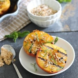 ... summer dessert! Grilled Peaches with Brown Sugar Pecan Crumble
