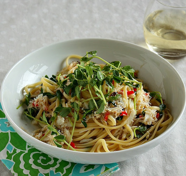 the perfect summer pasta dish linguine with fresh crab and pea shoots