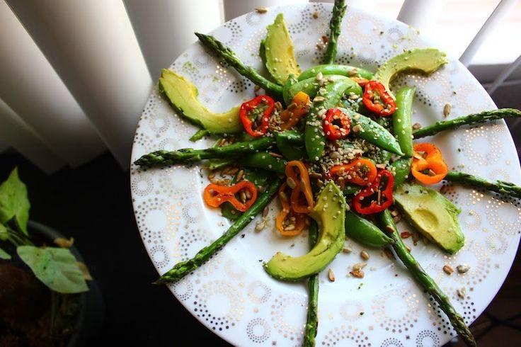 Toasted Asparagus & Avocado Salad | NOM NOM recipes | Pinterest