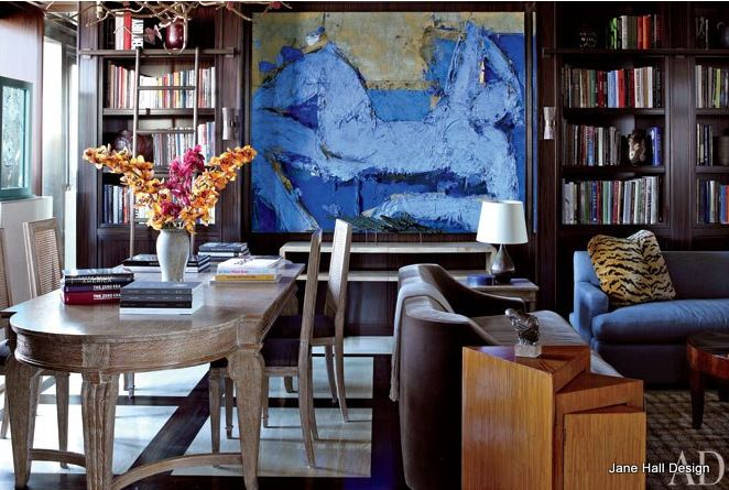 Living room and dining room with cornflower and cobalt blue artwork
