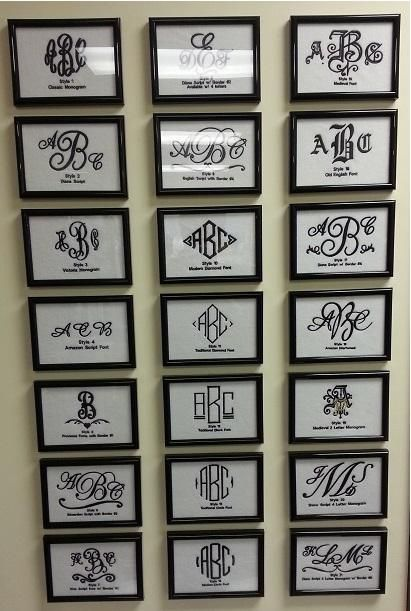 Good idea for displaying font options embroidery pinterest