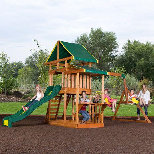Backyard Playground Set : Backyard Discovery Pathfinder II Cedar Wooden Swing Set